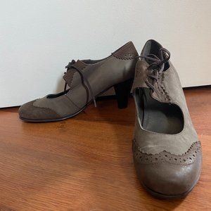 European leather lace up heels - grey/taupe